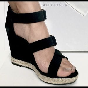 NEW BALENCIAGA Suede Wedge Sandals